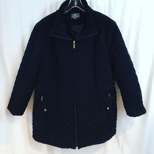 Gallery Woman Quilted puffy coat black plus 3x